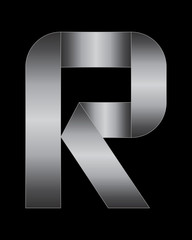 rectangular bent metal font, letter R