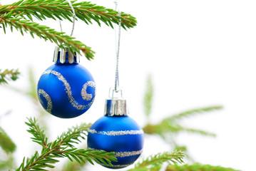 Christmas Fir Tree With Two Blue Christmas Balls