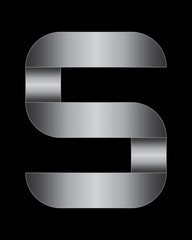 rectangular bent metal font, letter S