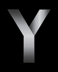rectangular bent metal font, letter Y