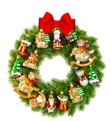 christmas wreath decorated with ornaments and red ribbon bow