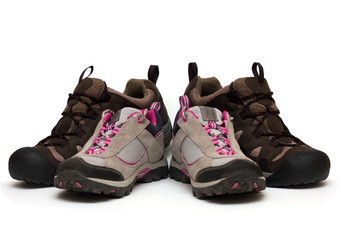 two pairs of trekking shoes