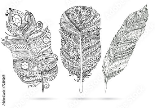 Vector set of doodle feathers on white background. © juliasnegi