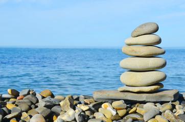 Pebble pyramid on the seaside