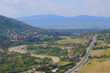 aerial view of Mtskheta, city with many attractions in 20