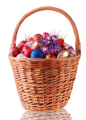Big Basket with Christmas Baubles