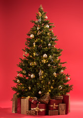 Christmas tree with gifts on red background full length