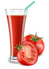 Glass of tomato juice with fruit isolated on white.