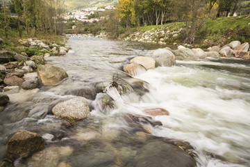 a river through the mountain in Manteigas Village - Portugal