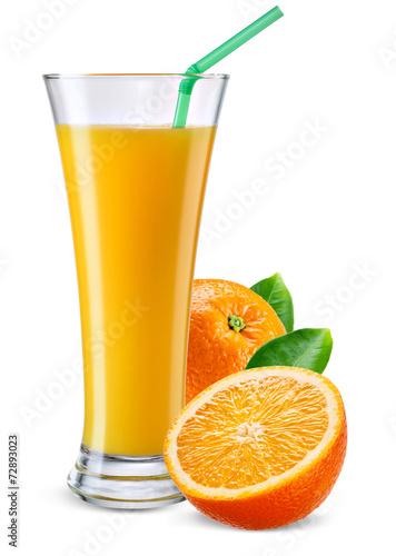 Glass of orange juice with fruit isolated on white.