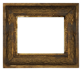 classic old ornate wooden picture frame carved by hand on white