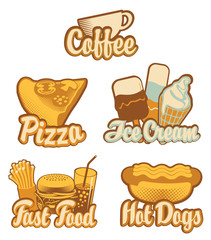 set emblems with fast food and ice cream in retro style