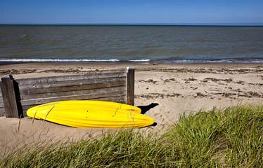 Yellow Kayak on shore