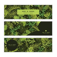 Vector evergreen christmas tree horizontal banners set pattern