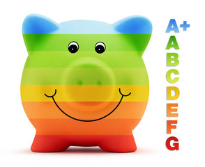 scale efficiency saving energy consumption of colored piggy bank