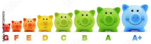 scale class energy savings piggy bank - 72894076
