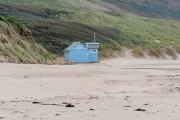 Lifeguard hut on beach closed for winter