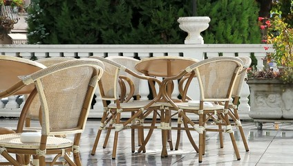 Rain on the table and the chairs of the terrace