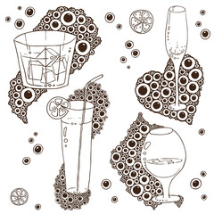 Set of Wine Glass On The Doodle Circular Pattern