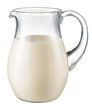 Glass jug of fresh milk isolated on white. With clipping path - 72894691