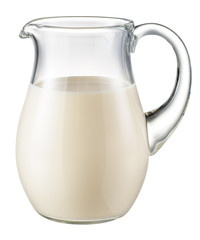Glass jug of fresh milk isolated on white. With clipping path