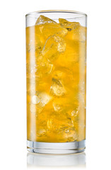 Glass of orange carbonated lemonade fanta. With clipping path