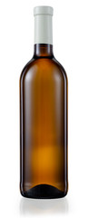 Dark brown glass bottle with white wine isolated. With clipping
