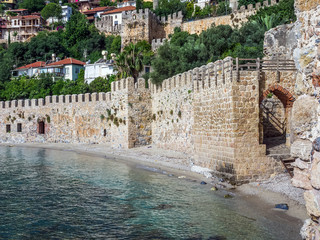 The wall of the ancient fortress at the sea coast in Alanya