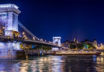 The view of Chain bridge and the Danube at night, Budapest, Hung