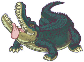 Hungry Cartoon Alligator with Tongue Hanging Out
