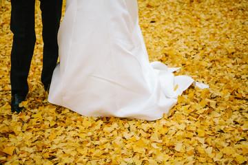 Gli sposi camminano su foglie gialle