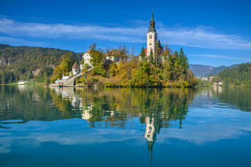 Island on Lake Bled in Autumn Morning
