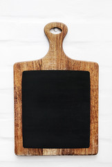 Old scratched cutting board. Rustic style kitchen