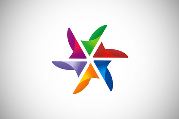 circular star abstract geometry vector logo