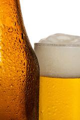 Beer Glass with Beer Bottle