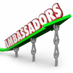 Ambassadors 3d Words People Lifting Arrow Diplomats Representati