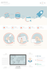 Flat website design template with business illustrations