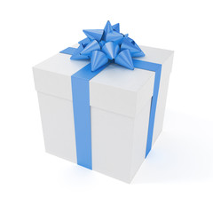 Big present with blue ribbon isolated with clipping path