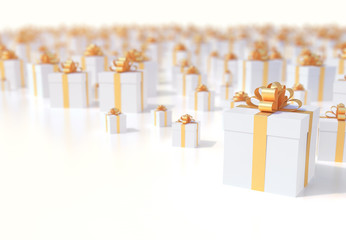 Christmas presents background with golden ribbon