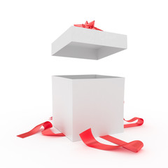 Big unpacked gift box with red ribbon isolated on white