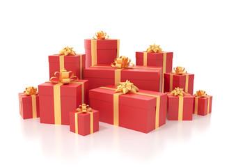 Many presents isolated on white background with clipping path