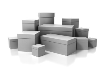 3D boxes isolated on white background with clipping path