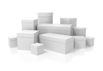 White boxes isolated on white background with clipping path