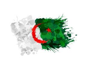 Algerian flag made of colorful splashes