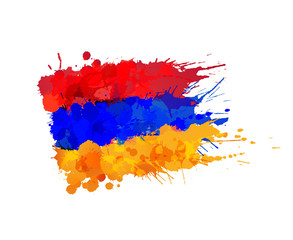 Flag of Armenia made of colorful splashes