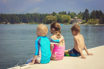 Kids enjoying summer vacation at the lake