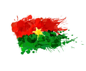 Flag of Burkina Faso made of colorful splashes