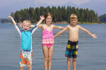 Kids enjoying summer vacation at the lake