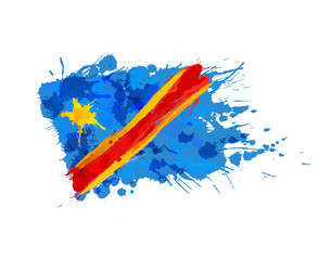 Flag of Congo made of colorful splashes
