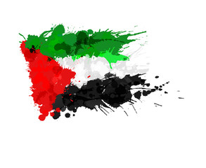 Flag of  Palestine made of colorful splashes